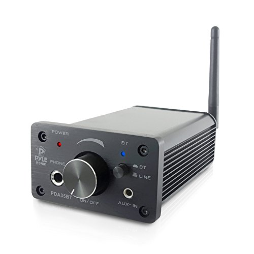 Pyle PDA35BT Mini-Bluetooth-Verstärker und Kopfhörer-Verstärker (Klasse D, 2 Aux-Eingänge, 2-Kanal-Stereo-Ausgang, tragbar, kompakt)
