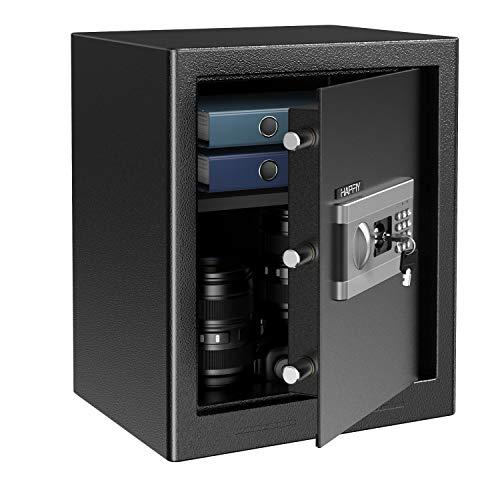 HAPFIY Caja Fuerte 43L, Extra Grande Convencionales de Seguridad Electrónica con Alarma Incorporada Montaje en el Suelo Para Joyería A4 Documento Oficina en casa, 4 AA batterias+2 Llaves, 37x31x30cm
