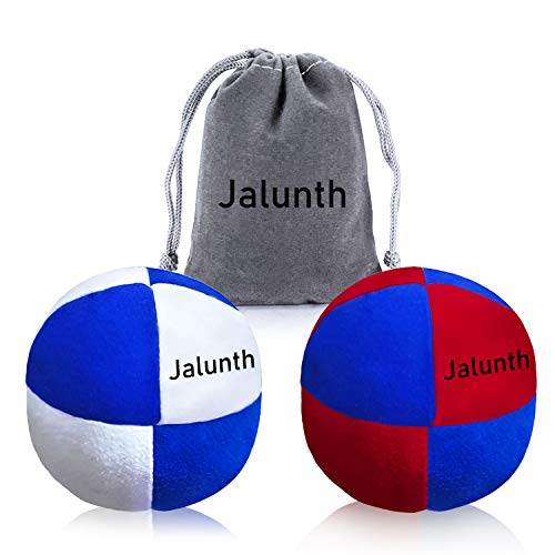 Hacky Sack Footbag Balls Juggling Balls for Beginners & Professional Kids & Adults Bulk Set of 1 2 3 with Portable Carry Bags (2 Pack)