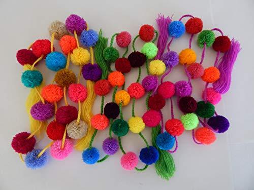 Azuleho - Mexican Pom Pom Garland - 3 Assorted PCS - Mexican Fiesta Party Decoration - Cinco de Mayo Decoration - Party Supplies - Yarn Pom Poms - Home Décor Supplies