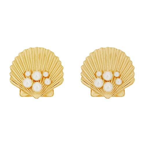 QYMX Orecchino Donna Gold Orecchini in Oro con Perle Imitazione Conchiglia per Donna Regalo Gioielli per Ragazze