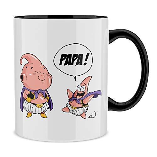 Okiwoki Mug Noir Dragon Ball Z - Bob l'éponge parodique Boubou et Patrick l'étoile de Mer : Tel père tel Fils (Version SD) (Parodie Dragon Ball Z - Bob l'éponge)
