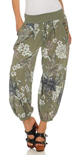 Mississhop 277 Damen leichte Blumenprint Hose Sommerhose Haremshose Ballonhose Blumen Pumphose Aladinhose Sommer Baggy Pants Oliv