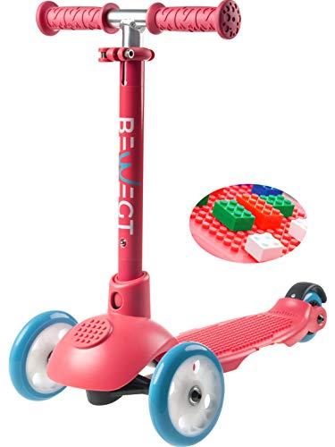 Beweegd om te spelen 3 rollen driewieler kinderen scooter met 50 bouwstenen trapplank stuur in hoogte verstelbaar lichtwielen vanaf 3 jaar