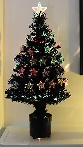 Albero di Natale a Fibra Ottica Nero a 32 Pollici di Natale Concepts® con Le Stelle