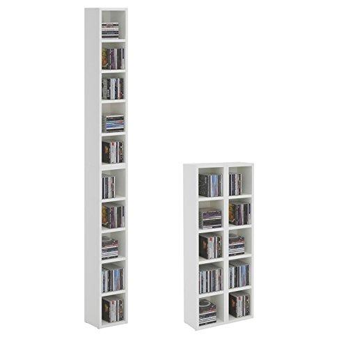 CD DVD Regal Ständer Aufbewahrung Chart, in weiß mit 10 Fächern für bis zu 160 CDs, 20x186,5 cm (Breite x Höhe)