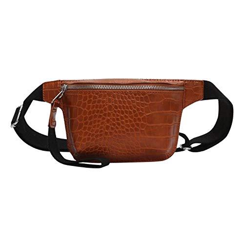 DINAER 2pcs Patrón Cintura Riñonera Paquetes de Cuero Bolsas de Pecho Multicolor Messenger Chest Bag Clutch Bolsas Feminina-marrón
