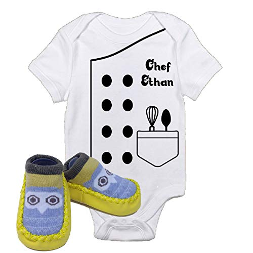 Chef Ethan Future Halloween Onsies with Yellow Owl Shoes Best Baby Gift Idea (3-6 Months with Shoes)