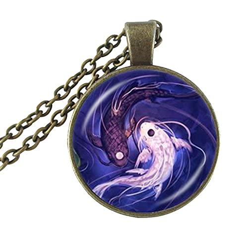 Revilium Collar De Pez Yin Yang Ying Y Yang Tai Colgante De Joyería Taoísmo Chino Ocho Diagramas Patrón De Joyería Gargantilla De Cúpula De Cristal 60Cm