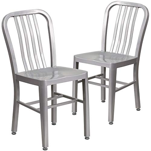 Flash Furniture Juego de 2 sillas de metal, para uso en interiores y exteriores, calidad comercial, color Plateado