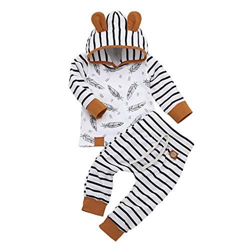 LEXUPE Neugeborenes Baby-Jungen-mit Kapuze T-Shirt übersteigt die eingestellte Feder-gestreifte Hosen-Kleidung(Weiß,70)
