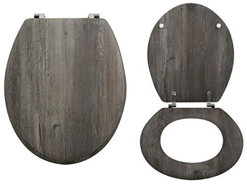 MSV WC-bril wc-deksel bamboe houten scharnieren van roestvrij staal - hoogwaardige en stabiele kwaliteit