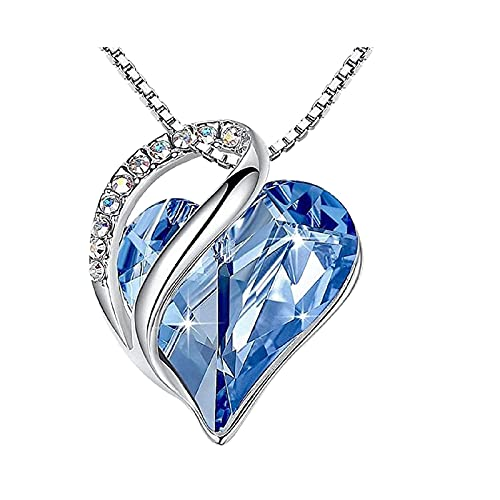 """YeLukk 1PC Infinity Love Heart Pendant Necklace,Women's Necklaces With Stone Crystal 18K Accessories,Women Chain Jewelry Gift for Teens Girls Mother Daughter Relatives Friends,18""""+ 2"""" (Light blue)"""