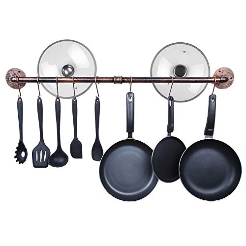 OROPY 39 inch Industrial Pot Rack Wall Mounted Pans Utensils Hanger Detachable Kitchen Hanging Rail with 14 S Hooks (Copper Color)