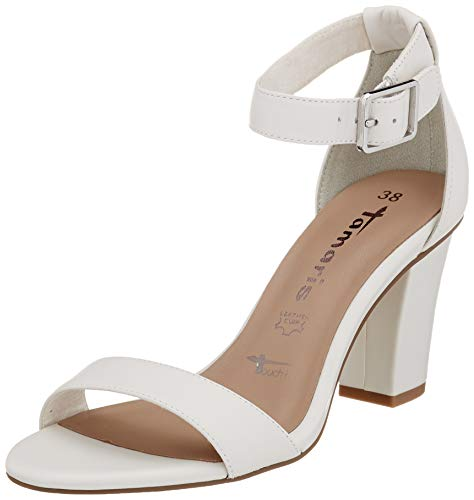 Tamaris Damen 1-1-28047-24 Riemchensandalen, Weiß (White Leather 117), 42 EU