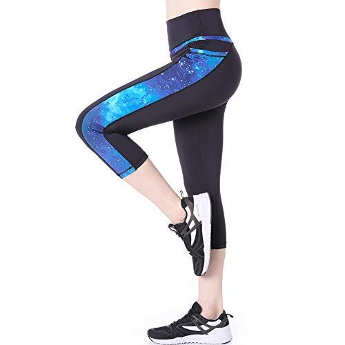 Eono by Amazon - 3/4 Leggings Damen 7/8 Sporthose Capri Leggins Sport Gym Yoga Hose Schwarz (SternenBlau,XL)