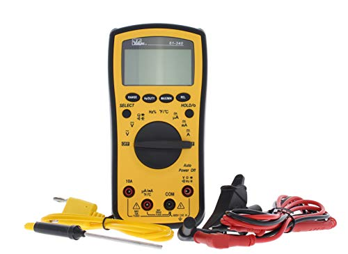 Ideal Industries 61-340 Test-Pro Digital Multi-Meter with Temp, Cap, Hz, Backlight, CATIII for 600v, Yellow