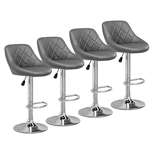 Huisen Furniture Set of 4 Grey Kitchen Bar Stools for Breakfast Counter Height Adjustable Swivel Stool with 360 Degrees Footrest Backrest Pub Bar Stool PU Leather Upholstered Barhocker