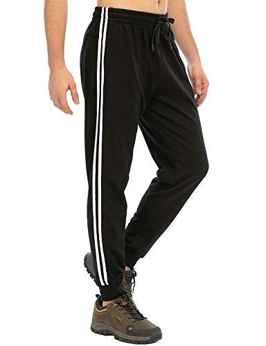 DAFENP Pantalon Chandal Hombres Jogging Deportivos Joggers Pantalones Chándal Hombre Pitillo Algodón Entrenamiento Ajustados Largos Pantalones Running KZ6802M-BlackWhite-2G-XL