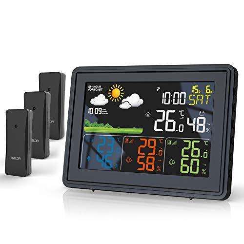 BALDR Wetterstation Funk mit 3 Außensensor Indoor Outdoor Thermometer Hygrometer mit Wettervorhersage, DCF Farbwetterstation, Wecker, Uhrzeitanzeige, deutlich Anzeigebildschirm (Schwarz)