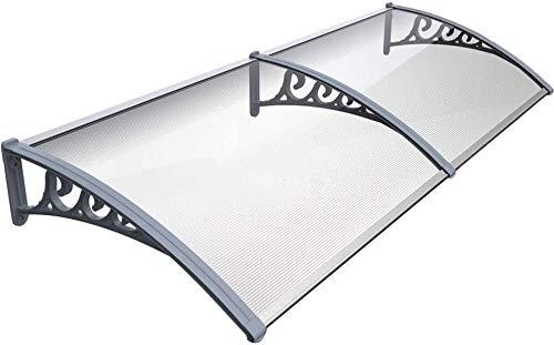 Marquesina para puerta de casa, Toldo de la lluvia de 3 mm Ligera PC Resistencia placa de la puerta ventana del pabellón con soportes de aleación de aluminio, contra todo Fenómenos atmosféricos