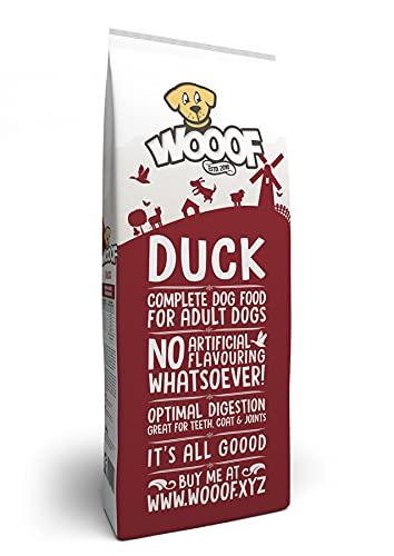 WOOOF Ente 14kg kaltgepresstes Hundefutter Ente, Obst & Gemüse | Purinarmes Trockenfutter, leicht verdaulich, ohne Weizengluten, für empfindliche Hunde