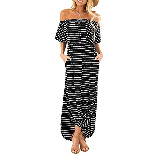 Sale!! Hstore Women Off Shoulder Stripe Long Dress Ruffle Casual Side Split with Pockets Beach Maxi ...