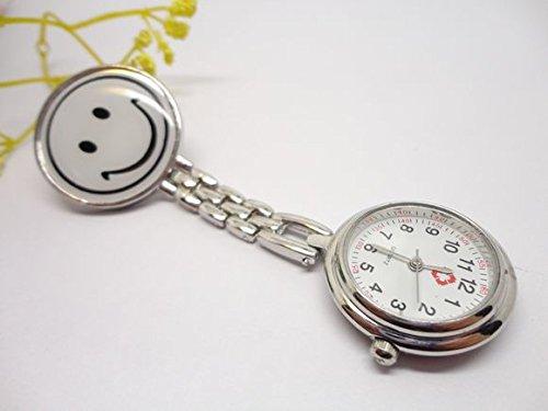 Wiwi.f Herz-Quarz-Uhrwerk, mit Clip, für Krankenschwester, mit Silikon-Brosche, Smiley-Gesicht, White Smile