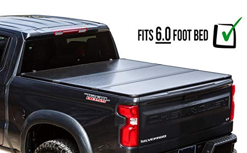 RDJ Trucks 65-Series Hard Folding Tonneau - Easy-On/Easy-Off Solid Flip Bed Cover - Fits/Compatible with Toyota Tacoma 2016-2020 6.0ft Long Bed
