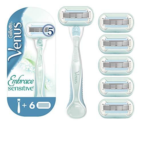 Gillette Venus Embrace Sensitive Maquinilla de Afeitar Mujer + 5 Cuchillas de Recambio