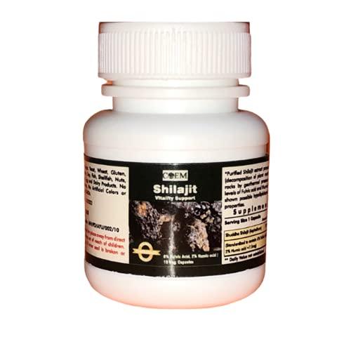 SHILAJIT 10 Capsules 375 mg - 6% Fulvic Acid, 2% Humic Acid. Standardized Extract. Sample Size.