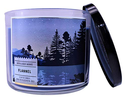 White Barn Bath & Body Works Flannel 3-Wick Candle 14 oz Blue Mountain & Trees Label