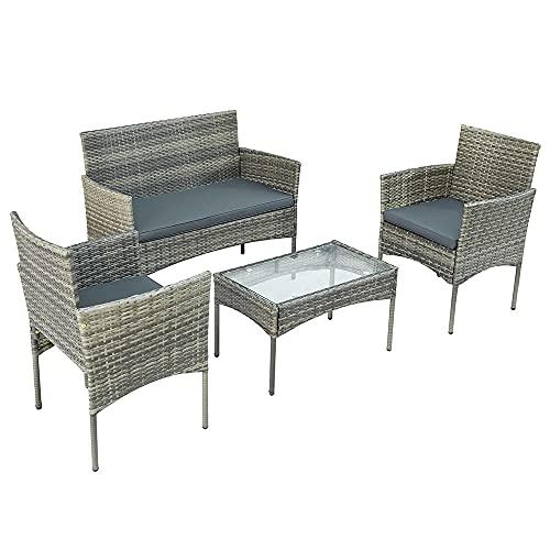 KaO0YaN,Conjunto de Muebles de Jardín para 4 Personas, Juego de Salones Polyrattan, Sofa Doble, 2...