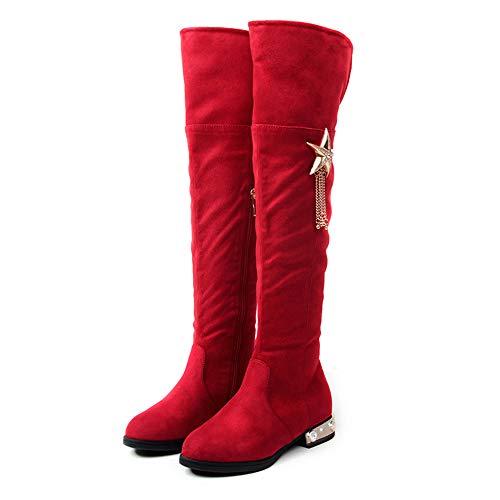 NSJY.FLY Kinderschuhe Mädchen High-Top-Stiefel Winter Neue Stiefel Kinder Prinzessin Mädchen Echtleder Warme Schuhe