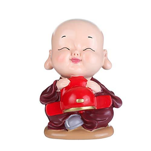 Healifty resina salvadanaio a forma di monaco banca di moneta portamonete risparmio pentola monaco figurina statua per ragazze ragazzi regali di natale capodanno