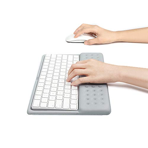 Buwico 2 in 1 Wrist Rest Support Keyboard Pad Keyboard Mat Wrist Rest Mouse Pad for Apple Magic Keyboard 2 (Gray)