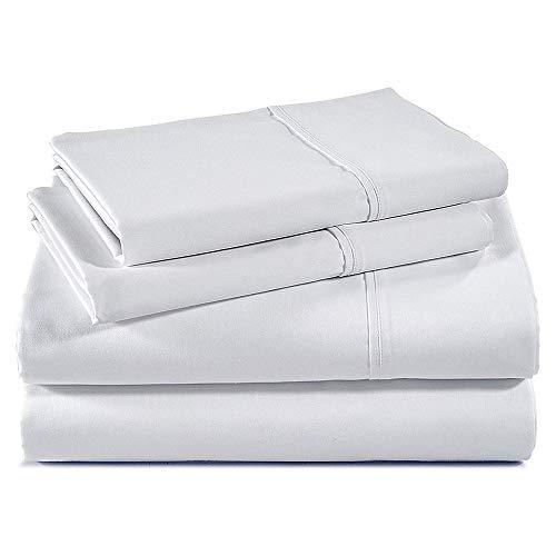 Bettlaken-Set, 100 prozent Baumwolle, weiß, seidig glatt, kühlend, Fadenzahl 400, Tagesdecke, Queensize-Bettlaken-Sets – passend für bis zu 30,5 cm - 40,6 cm tiefe Taschen, Queen-Bettlaken
