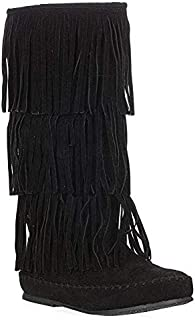 Women's Layered Fringe Detail Mid Calf Flat Moccasin Boot