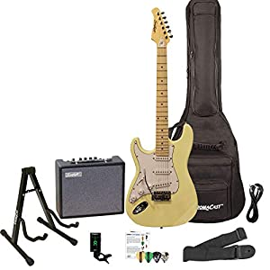 Sawtooth Left Handed ST Style Electric Guitar Citron Vanilla Cream w/White Pickguard with Lesson, ChromaCast Gig Bag, Stand, Pro Series Cable, Pick Sampler, Tuner, Strap, Sawtooth Amp