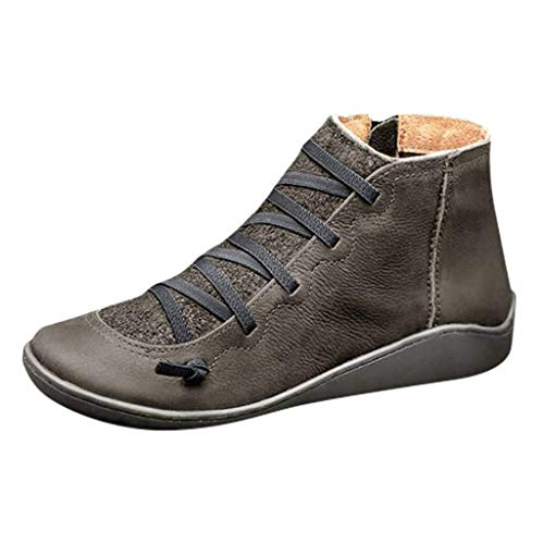 Aniywn Arch Support Boots,Women Low Heels Casual Short Ankle Boots Everyday Waterproof Boots(Gray,38)