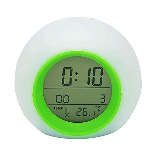 HQSC Baterías Reloj Despertador Lindo de Alarma luz de la Noche de la Bola Redonda Reloj LED multifunción Repetir la Tabla de Reloj for niños de...
