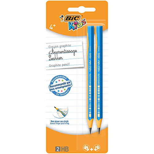 BIC Kids Bleistifte für Kinder ab 4 Jahren - für Links- & Rechtshänder - Blister à 2 Schreiblern Bleistifte - PINK oder BLAU - keine Farbwahl möglich
