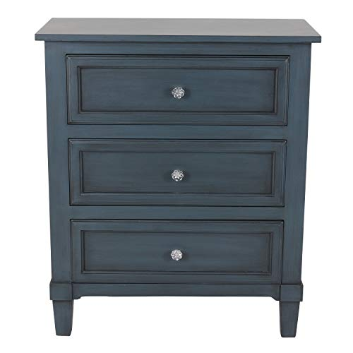 Decor Therapy FR8674 Beckett 3-Drawer Side Table, 24x12x28, Antique Navy