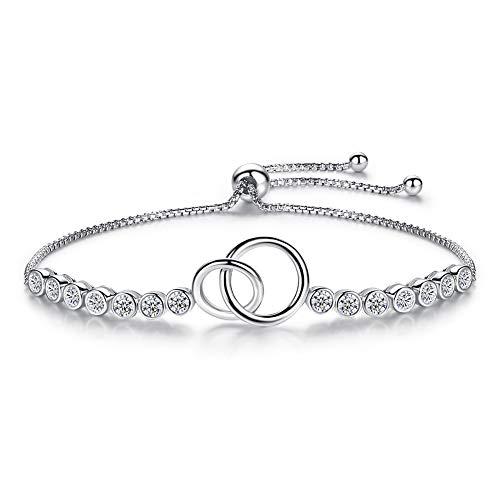 Moeder Dochter Armband Interlocking Cirkels Oneindigheid Knoop Tennis Ketting Sterling Zilver CZ 10