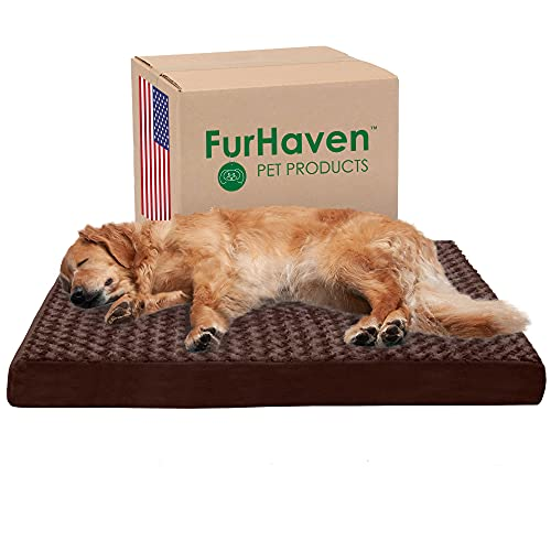 Furhaven Orthopedic Pet Bed for Dogs and Cats - Classic Cushion Ultra Plush Curly Fur Dog Bed Mat with Removable Washable Cover, Chocolate, Jumbo (X-Large)
