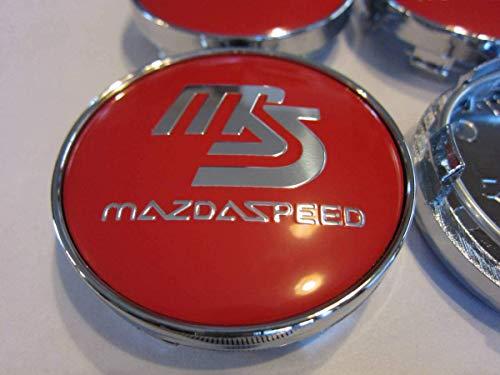 mazdaspeed マツダスピード ホイールセンターキャップ カーホイール用キャップ ハブキャップ ホイールカバー センターキャップ バッジ エンブレムステッカー60mm(外径) 4個1セット