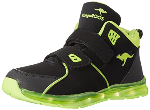 KangaROOS Unisex-Kinder K-Lev VII LED High-Top, Mehrfarbig (Dk Grey/Lime), 29 EU
