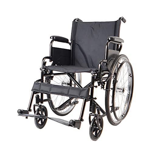 Dunimed Faltbarer Rollstuhl - Faltrollstuhl - Feste Armlehnen und klappbare Fußstützen - Leichtgewicht