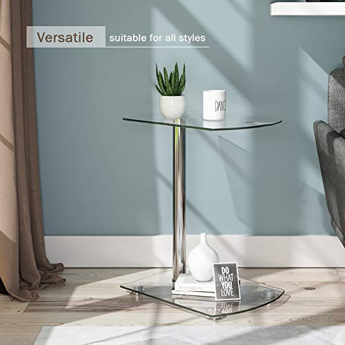 Beliwin Sofa Side/End Table, Small Modern Clear Glass Coffee/Snack Table, Narrow Table for Living Room, Home, Office (C)