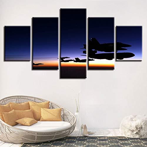 Hllhpc (geen frame) canvas, modulaire kunstdruk, vliegtuig, zonsondergang, landschap, decoratie, voor thuis, woonkamer, werk, HD-printer, 40 x 60 x 80 x 100 cm